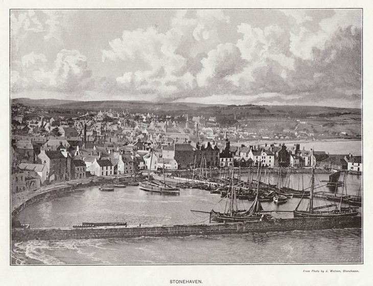 Old engraving of Stonehaven harbour