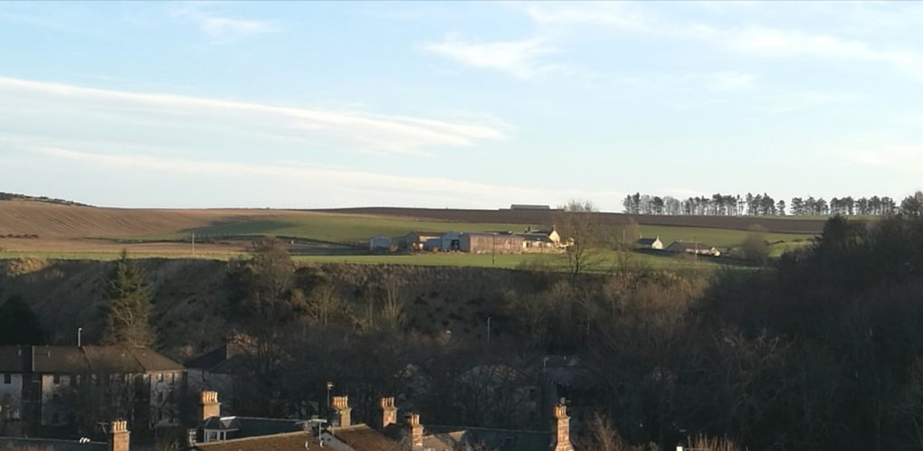 View from top of Beefy Brae to East Newtonleys Farm