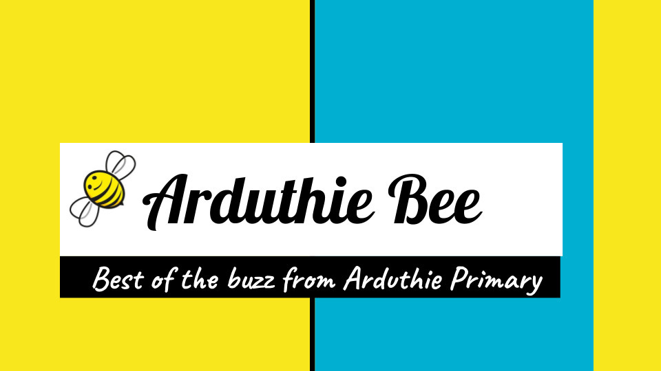 Yellow and blue logo background with bee