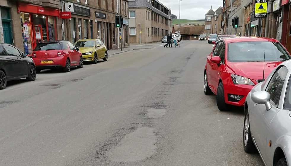 Allardice Street showing poor condition of road