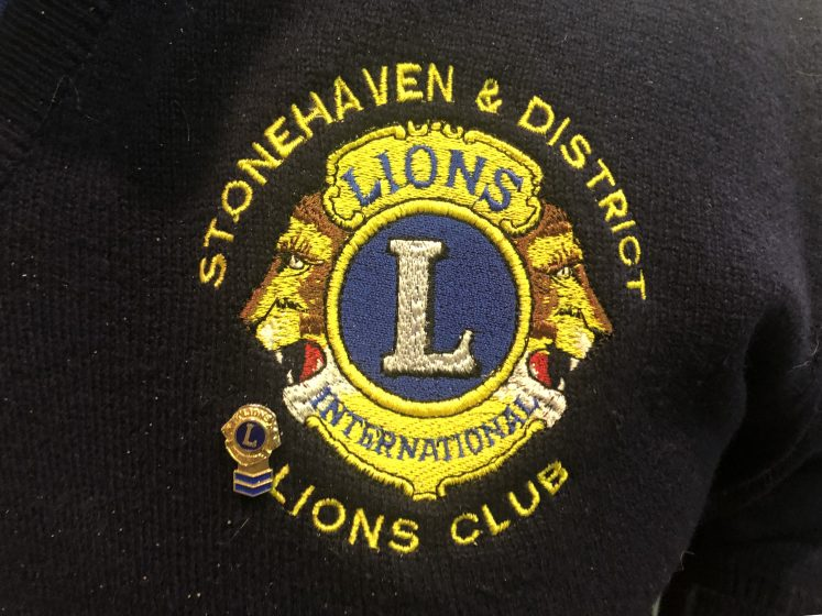 close up of Lions logo embroidered onto jumper