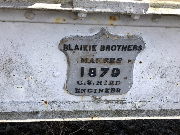 Close up of plaque on White Bridge'Blaikie Brothers, makers 1879, G S Hird Engineer