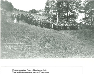 archive black and white photo of large group of people on a hillside