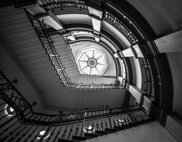Black & white image of spiral staircase in Aberdeen