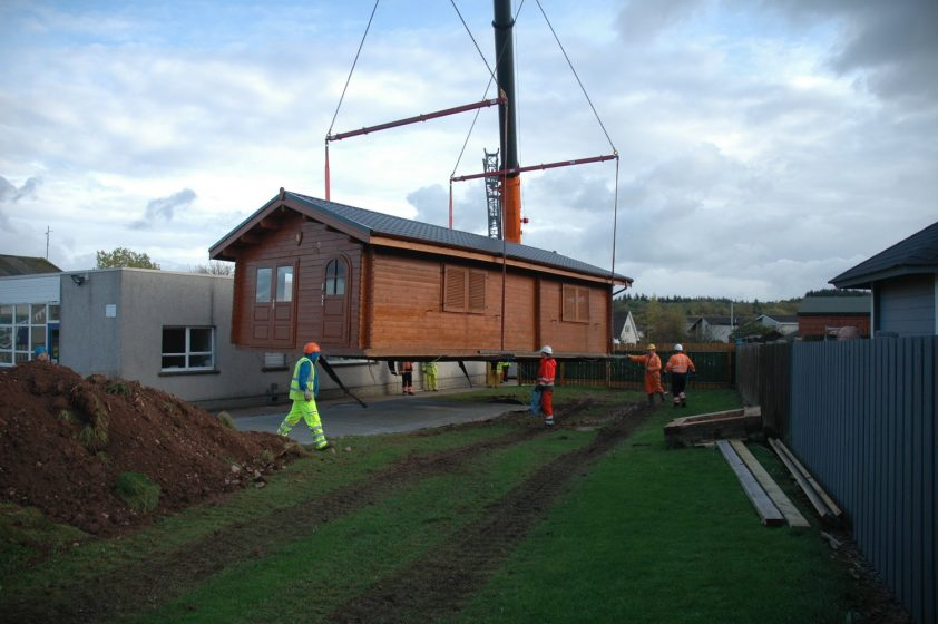 Cabin being lowered into its final position at Carronhill