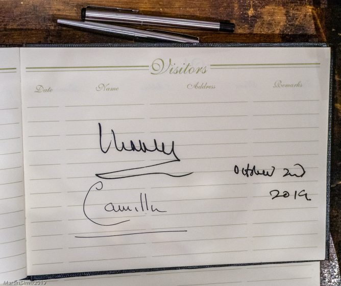 The Royal Signatures on the visitor book at the Tolbooth