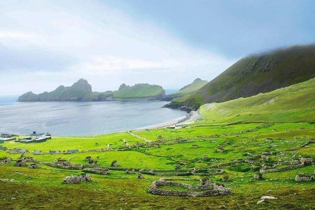 sweeping grass bay on St Kilda