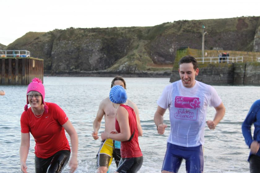 group of swimmers in harbour