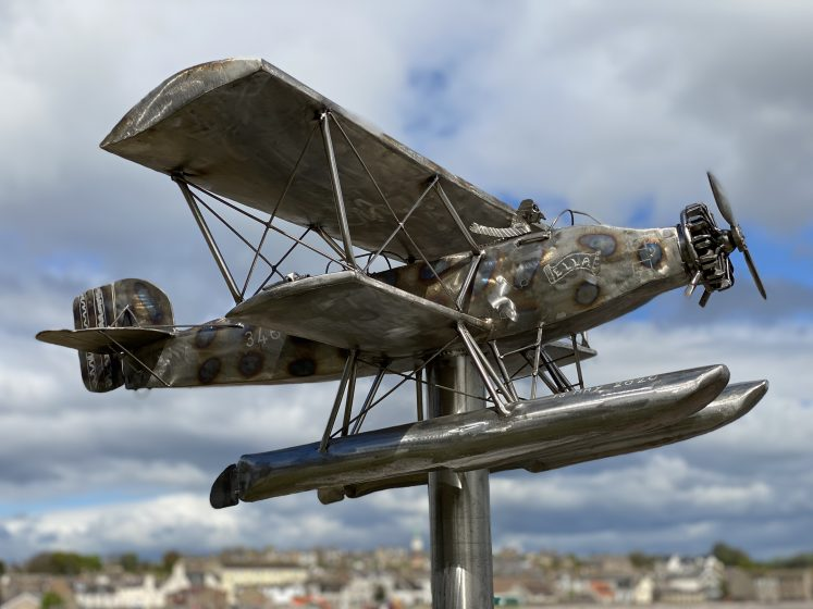 Gleaming biplane with fish pilot sporting scarf and goggles