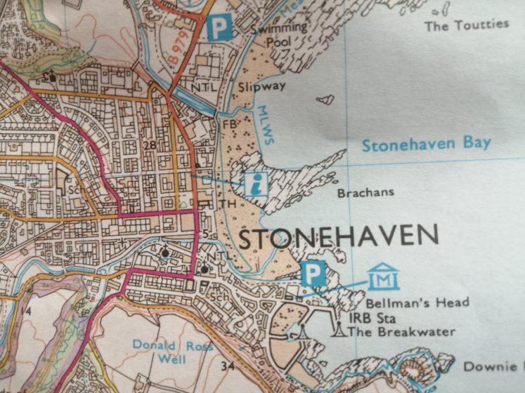 Photo of map of Stonehaven, cunningly with Bellman's Head in shot
