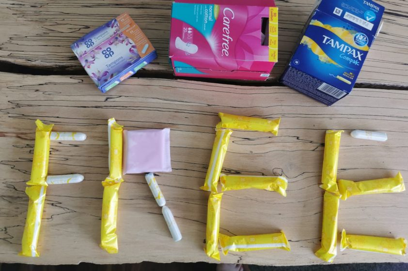 Word Free made from tampons