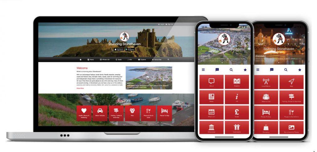 screenshot of app - dunnottar castle and portal buttons