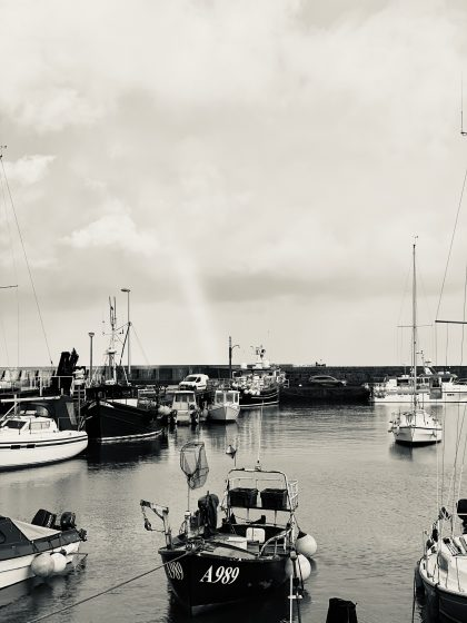 Black and white image of harbour