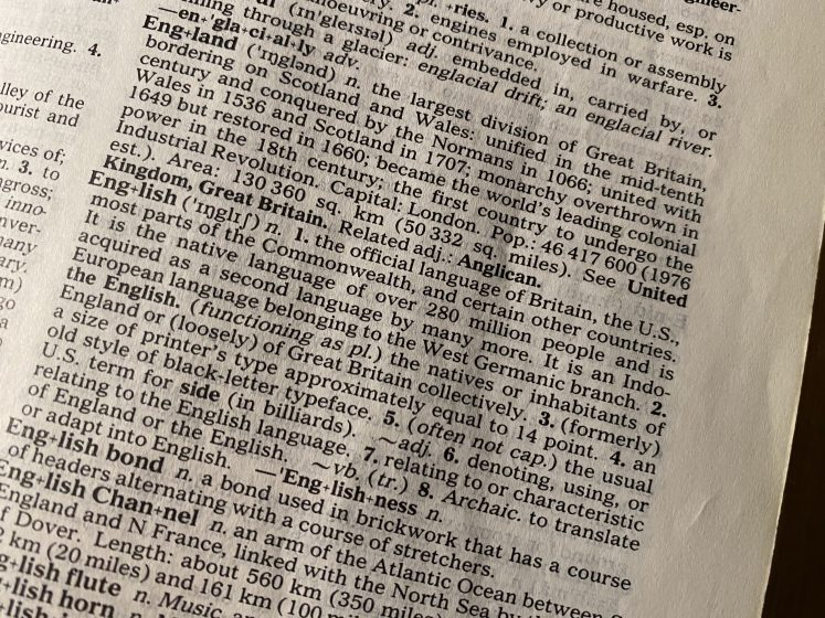 photo of dictionary definition of English - very old dictionary!