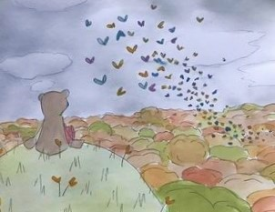endearing painting of bear looking out to swarm of butterflies