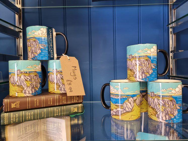 mugs with dunnottar Castle art work